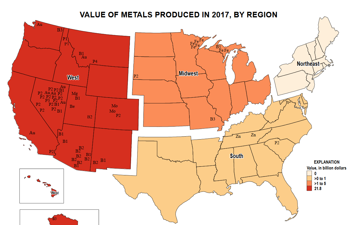 Metals by region