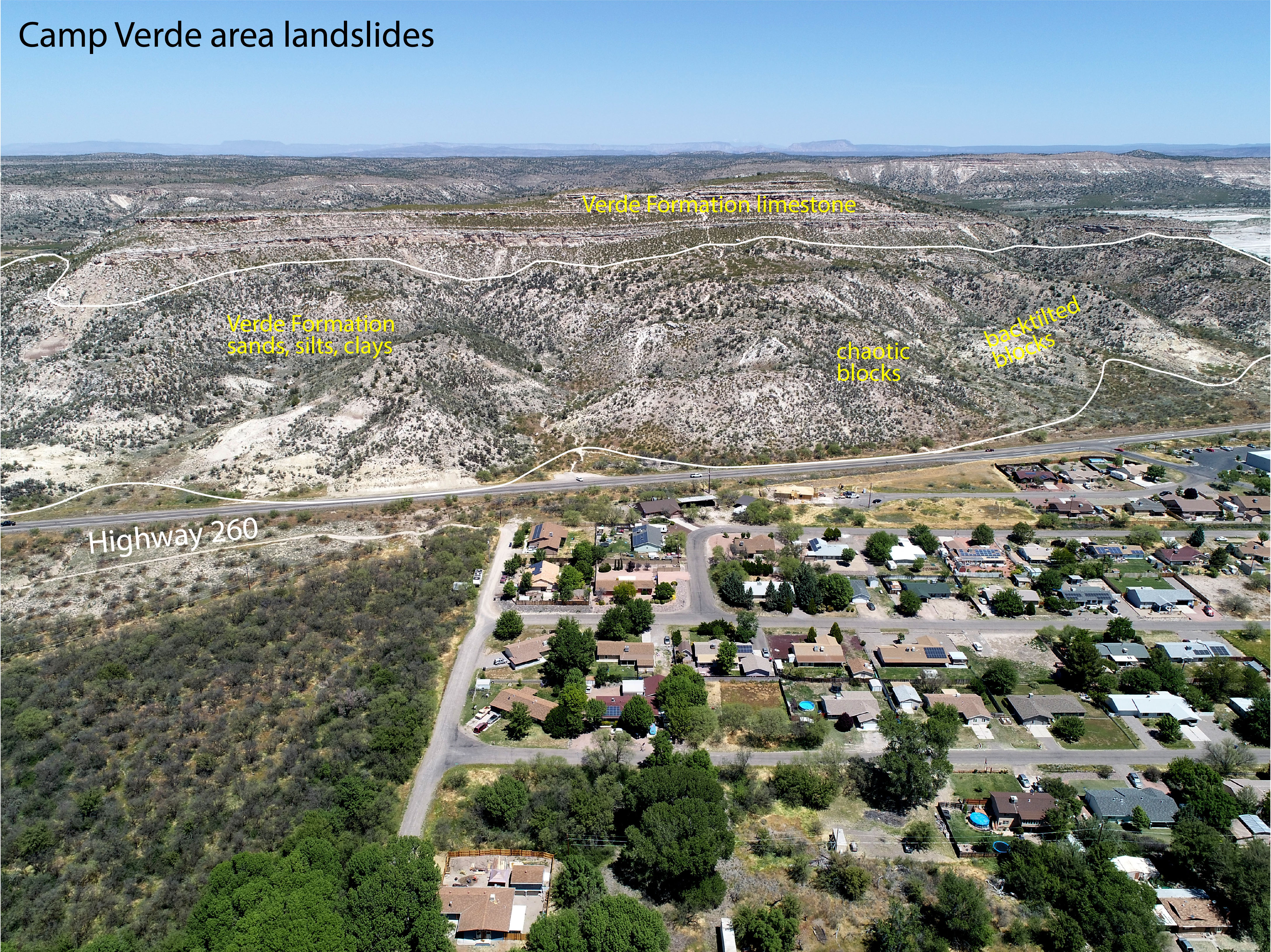Landslides hosted in the Verde Formation along axis of Verde Valley.