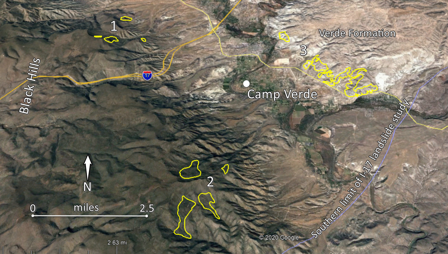 Overview of Verde Valley. Landslides in yellow
