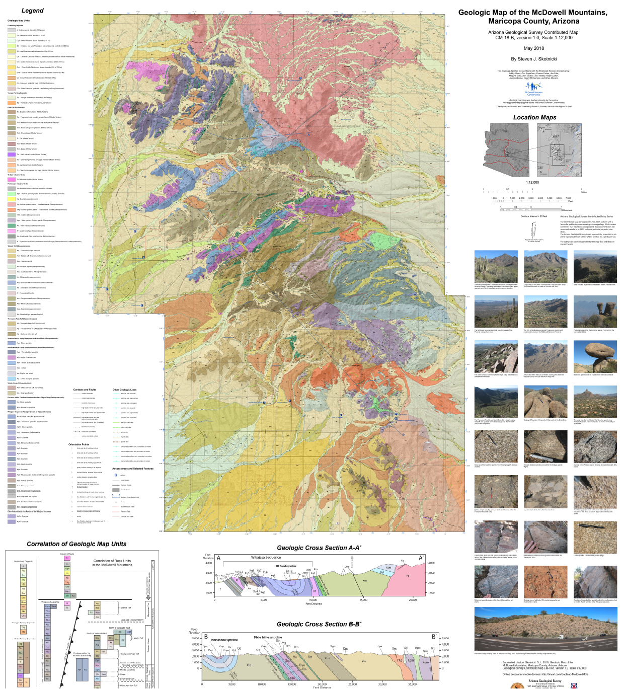 Geologic map of McDowell Mountains, central Arizona | e-Magazine of ...