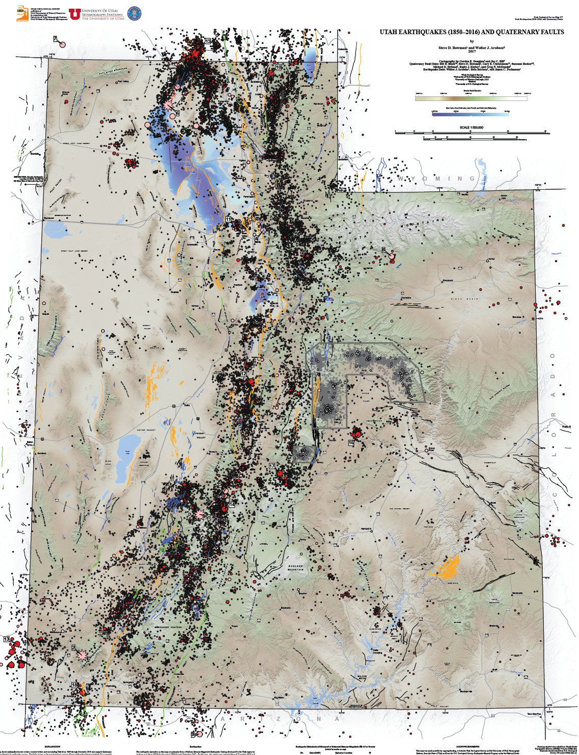 Earthquake epicenters and Quaternary faults in Utah