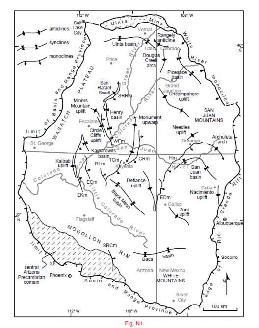 Principal Laramide structural features of the Colorado Plateau