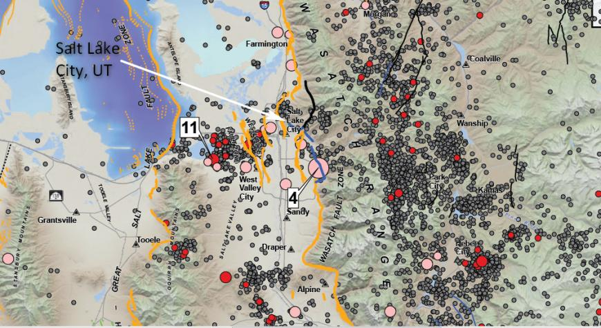 Historic earthquakes and Quaternary faults near Salt Lake City, Utah