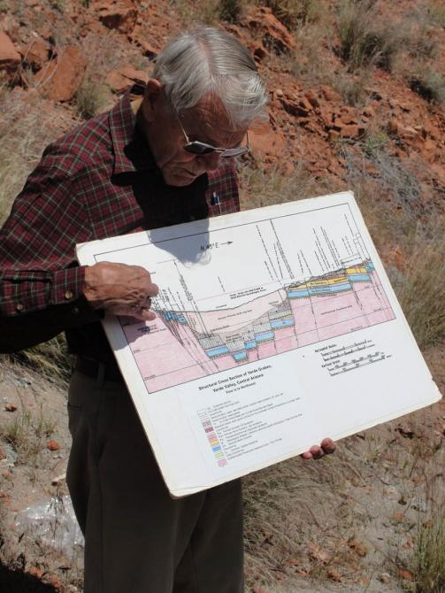Paul Lindberg with cross section of the Verde Valley