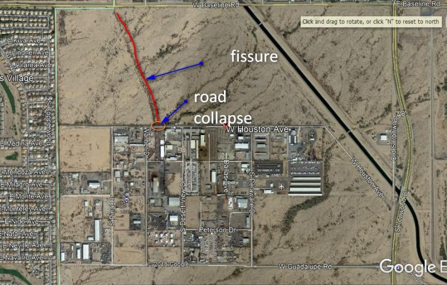 Fissure trace at Houston Ave., Apache Junction (Google Earth)