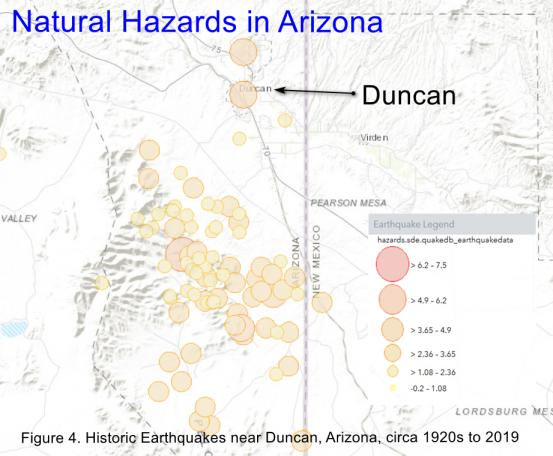 Historic earthquakes near Duncan, Arizona