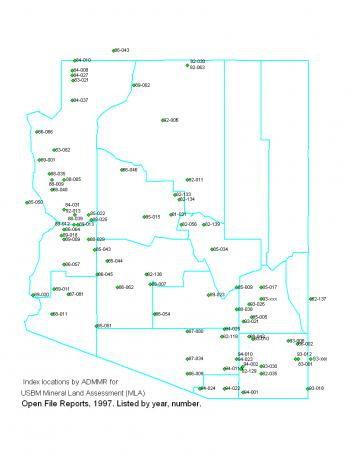 Locations of USBM MLA reports for Arizona