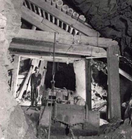 Miner operating a slusher at the Magma Mine (date  unknown) Photo courtesy of Magma Copper Company.