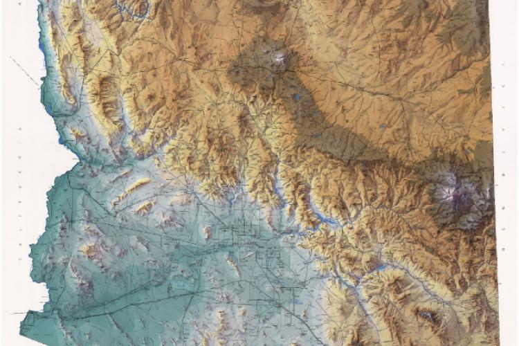 Shaded relief map of Arizona