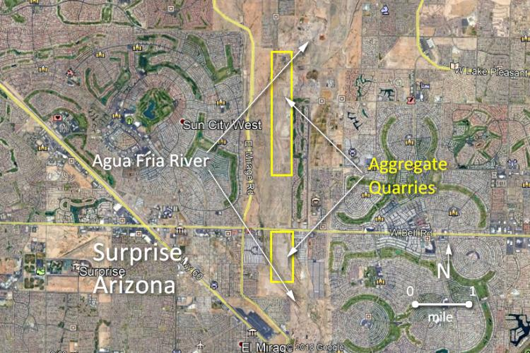 Aggregate quarries of the Agua Fria River, Surprise, Arizona