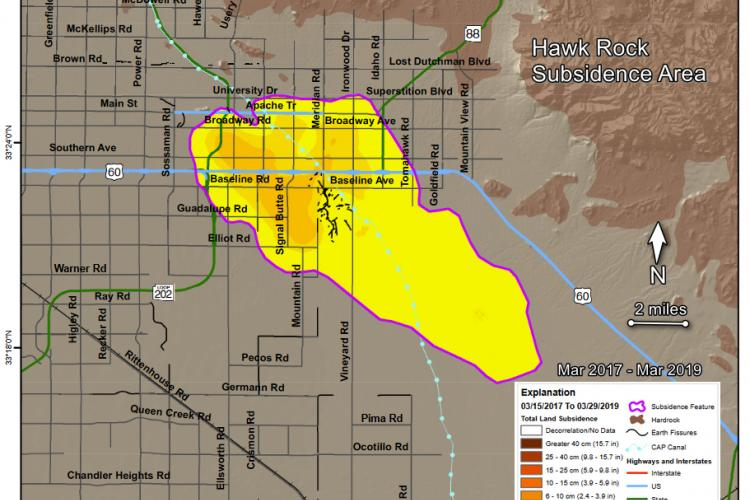 InSAR imagery illustrating subsidence near Apache Junction, Arizona.