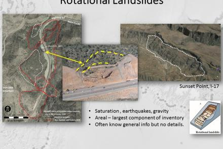 Example of landslides proximal to roadways in Arizona