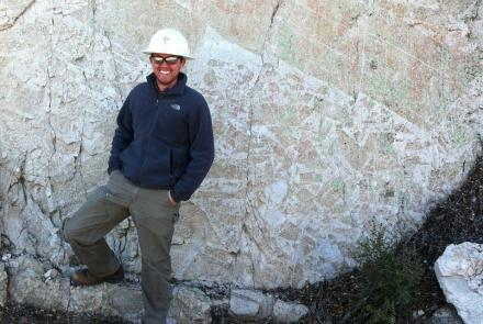 Carson on outcrop of lithified breccia