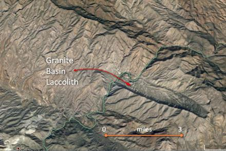 Google Earth image of Granite Basin laccolith