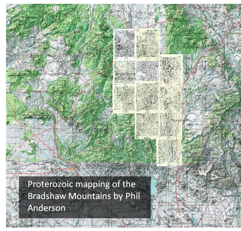 The distribution of mapped quadrangles in the Bradshaw Mountains of Arizona's Transition Zone.