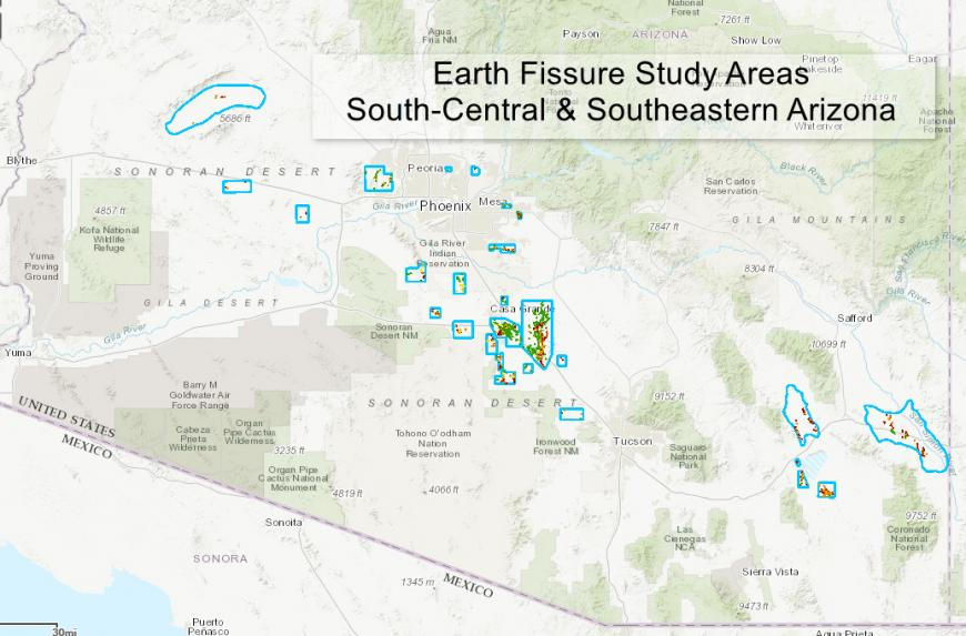 Earth fissures study areas in Arizona