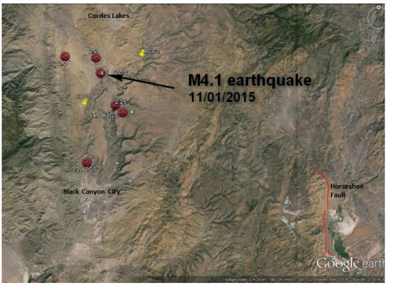 Earthquake epicenters for 1 Nov-2 Nov 2015 Black Canyon City earthquake(s)