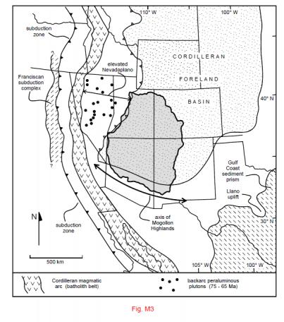 Regional setting of the Cretaceous Cedar-Burro and Mancos-Mesaverde deposystems