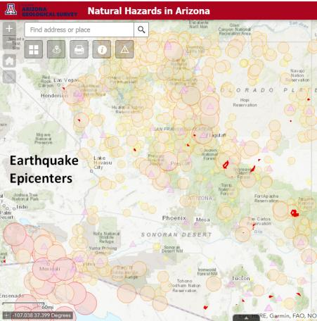 Natural Hazards in Arizona 2.0 - Earthquake epicenter theme