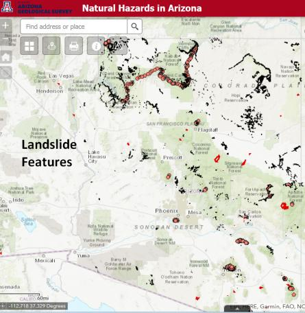 Natural Hazards in Arizona 2.0 - Landslide theme