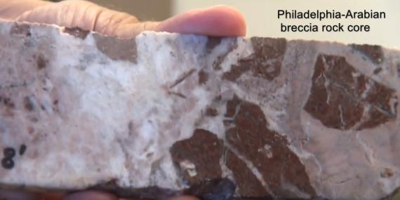 Rock core from Philadelphia property