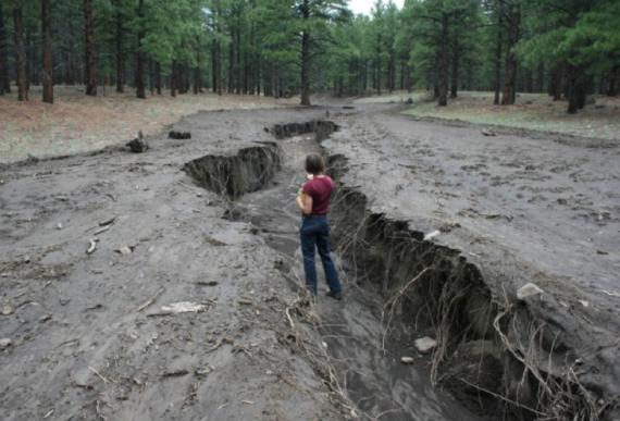 Flash flooding results in erosion and incision.